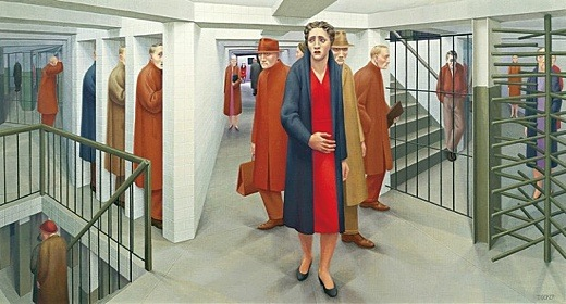 """Image above: Painting by George Tucker """"The Subway"""", 1950, at the ..."""
