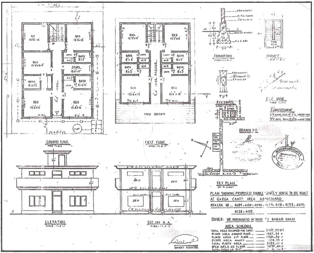Bhk Plan Elevation Section : Ea o ka aina bin laden s house plan
